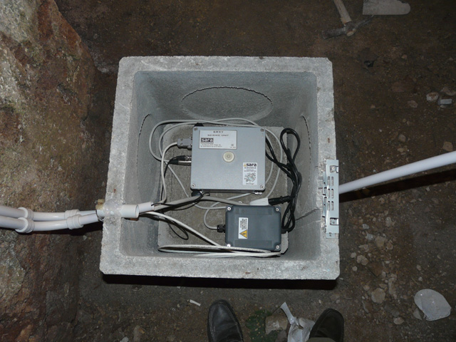 Pozzetto sensori sismografo aperto